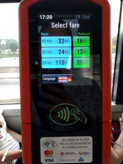 Contactless ticket machine in Prague inside tram